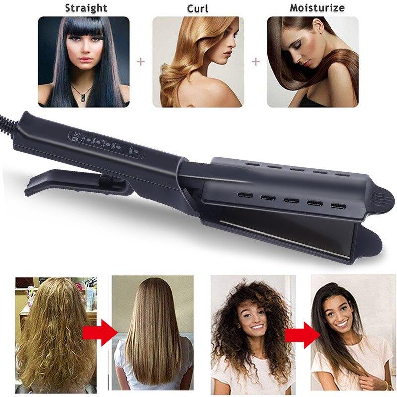 Alisador de cabello de cuatro engranajes de ajuste rápido de calentamiento Cerámica turmalina plancha plana iónica alisado profesional de cabello Dropshiping|Planchas de pelo|   - AliExpress