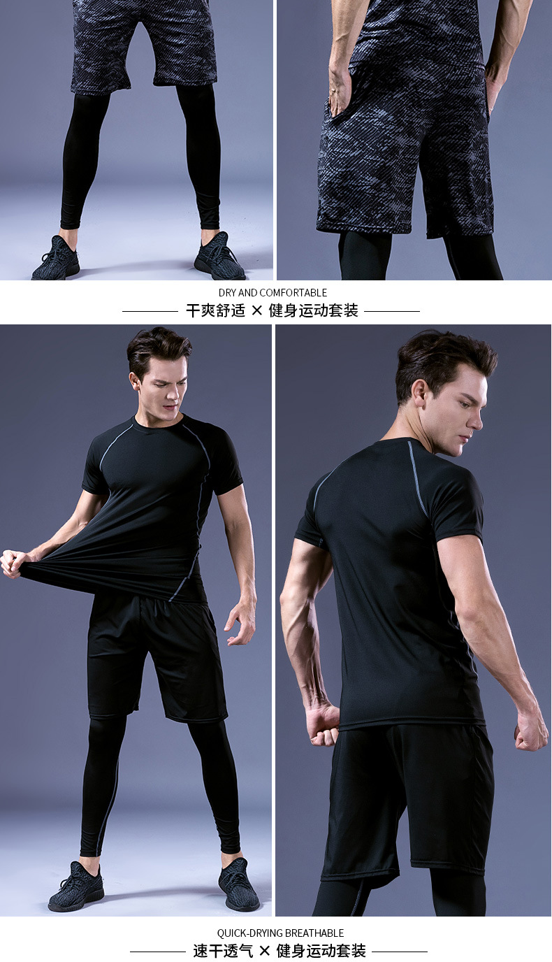 Foto of man from the front and back 5 pcs compressions clothes for gym. Men's 5 pcs compression tracksuit sports black color