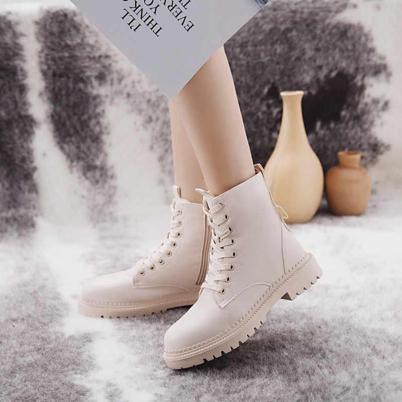 Mode Vrouwen Laarzen Rits Platte Schoenen Vrouw Hoge Hak Platform PU Lederen Laarzen Lace Up Vrouwen Schoenen Enkellaarsjes Vrouwelijke booties