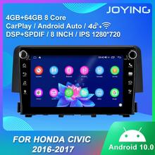 Android 10 IPS head unit car radio player4GB&64GB tape recoder support SWC/Fast boot/split screen/DSP for Honda Civic 2016  2018
