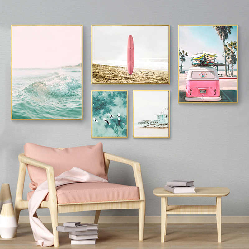 Pink Ocean Beach Flower Poster Nordic Canvas Art Print Nature Wall Picture Decor