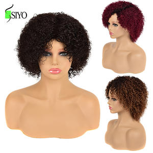 Siyo Human Hair Wigs for Black Women Curly Brazilian Remy Full Wigs Short wig with Bangs Jerry Curl Blond Red Cosplay Wig