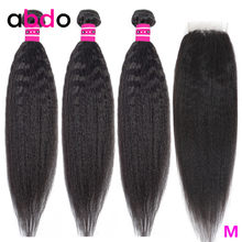 Kinky Straight Human Hair 3 Bundles With Closure Brazilian Hair Weave Bundles With Closure Remy Yaki Hair With Closure Abdo(China)
