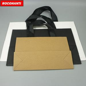 Image 4 - 100X מותאם אישית לוגו מודפס יוקרה בוטיק קניות נייר שקית מתנה עם סרט ידיות שחור חום לבן צבע