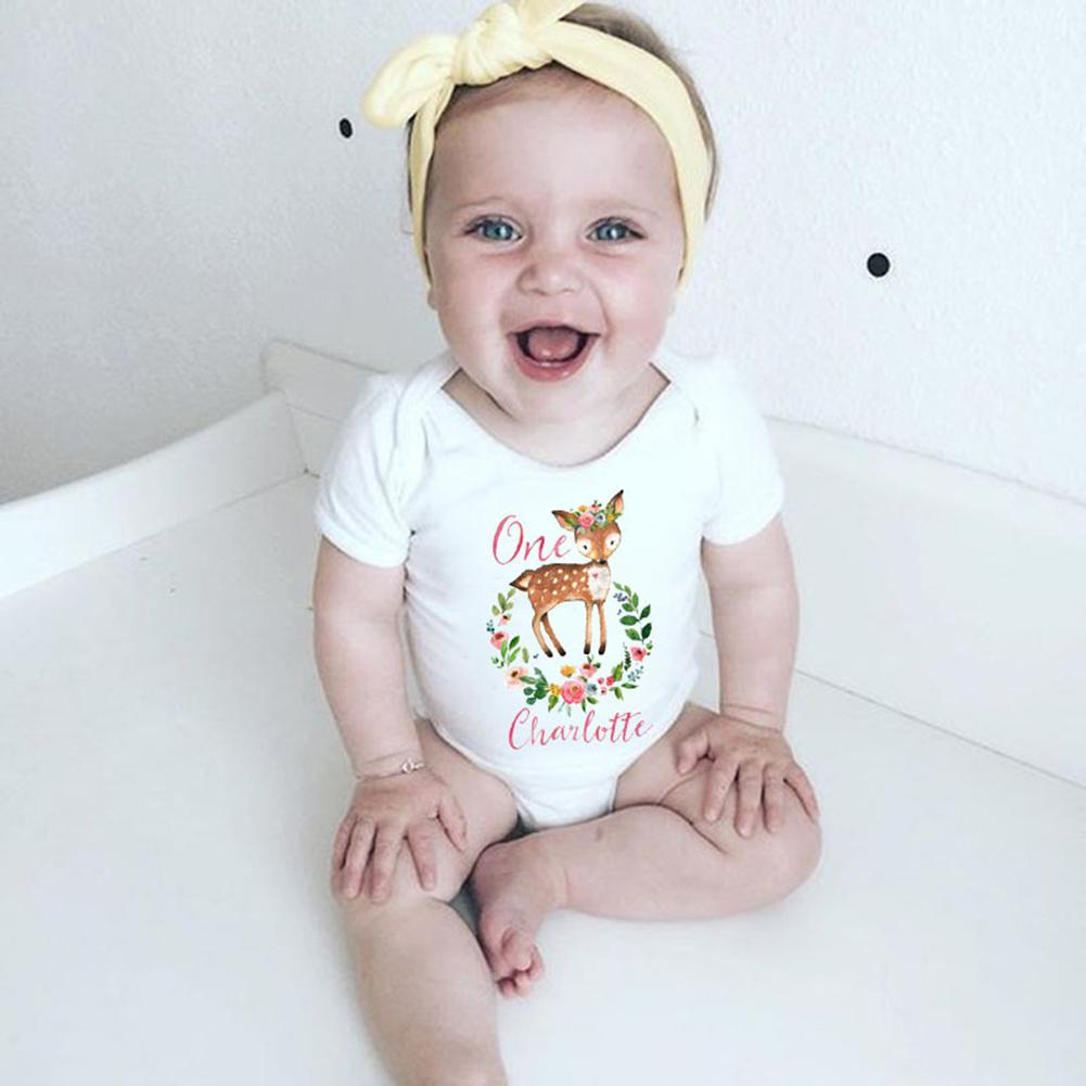 Baby Letter Sika Deer Printing Short-Sleeve Romper Cute Round-neck Jumpsuit Outfits Gift