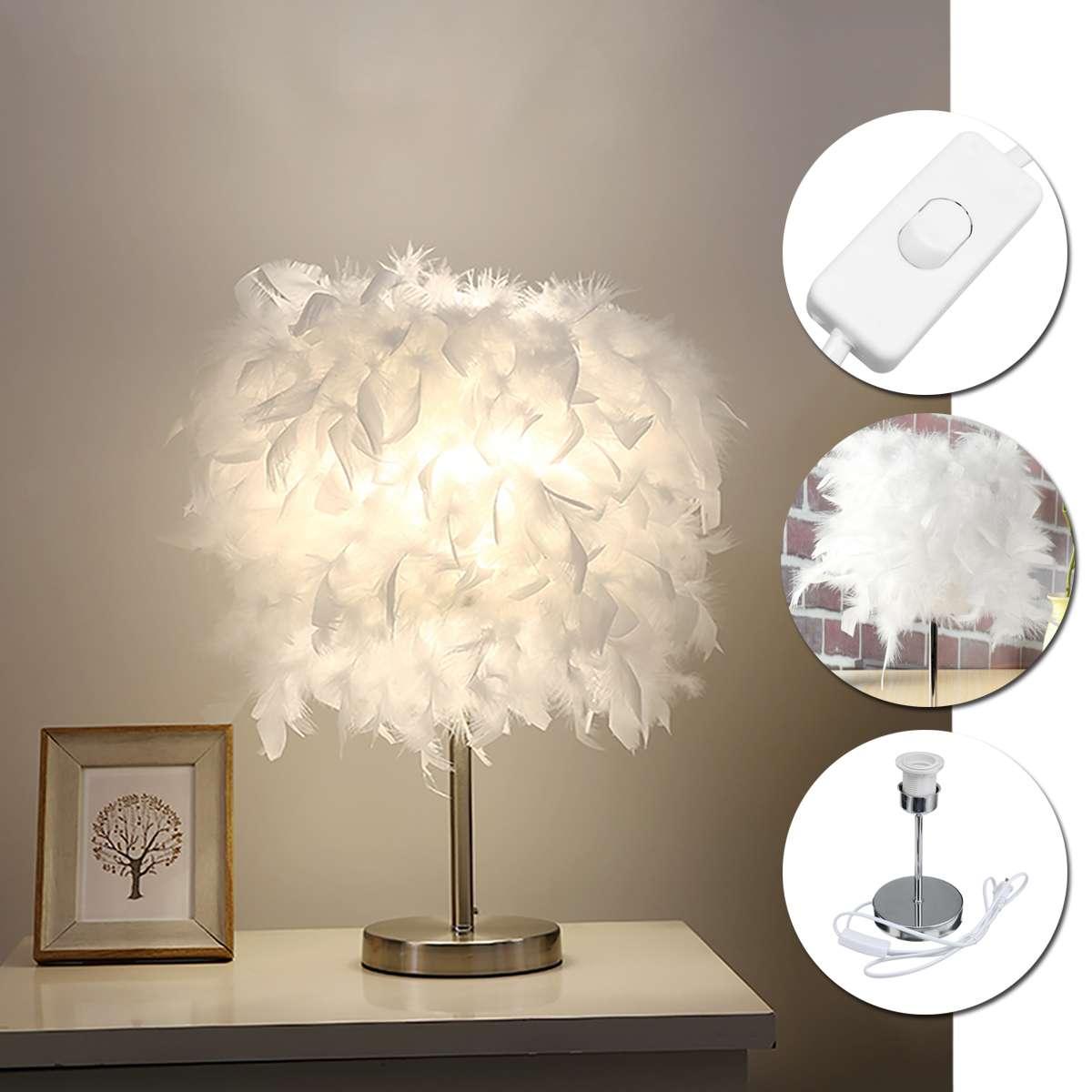 220V Feather Shade Metal Table Lamps Bedside Desk Vintage Night Light Christmas Decor Soft Vintage Bedroom Study Room White