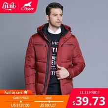 ICEbear 2019 Mens Winter Solid Parka Warm Jackets Simple Hem Practical Waterproof Zipper Pocket High Quality Parka
