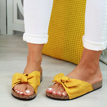 Summer New Womans Slip On Sliders Bow Flatform Mule Summer Sandals Comfy Shoes Plus Sizes Indoor Outdoor Flip-flops Beach Shoes faux pearl espadrille flatform sliders