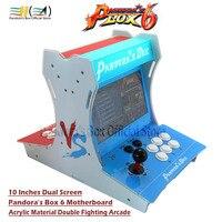 Pandora Box 6 Acrylic bartop 2 players mini arcade machine 10 inches dual screen Double fighting game console arcade 3d game