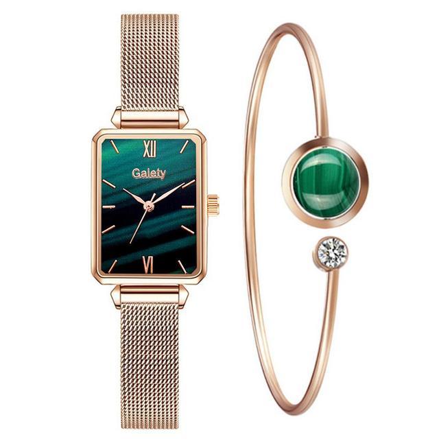 Marca Gaiety-relojes cuadrados de cuarzo para mujer, conjunto de pulsera, esfera verde, sencillo, malla de oro rosa, de lujo 6