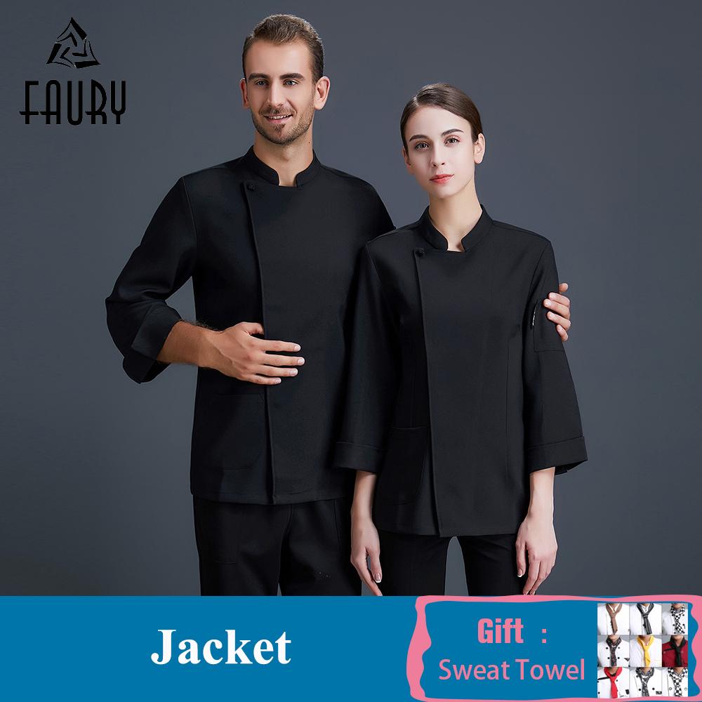 High Quality Chef Uniform Unisex Long Sleeve Pure Color Cook Jacket Food Service Restaurant Hotel Bakery Pastry Work Clothes
