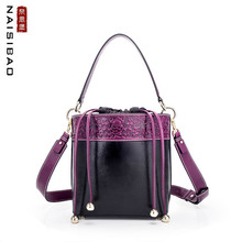 NAISIBAO 2019 New women Genuine Leather bag Embossed cowhide fashion luxury handbags designer leather shoulder Bucket