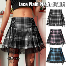 Sexy Lace-up Lace Plaid Pleated Skirt Pink Stripe Plaid Punk Dark Academia Aesthetic Girl Skirts High Waist Zipper Punk Gothic