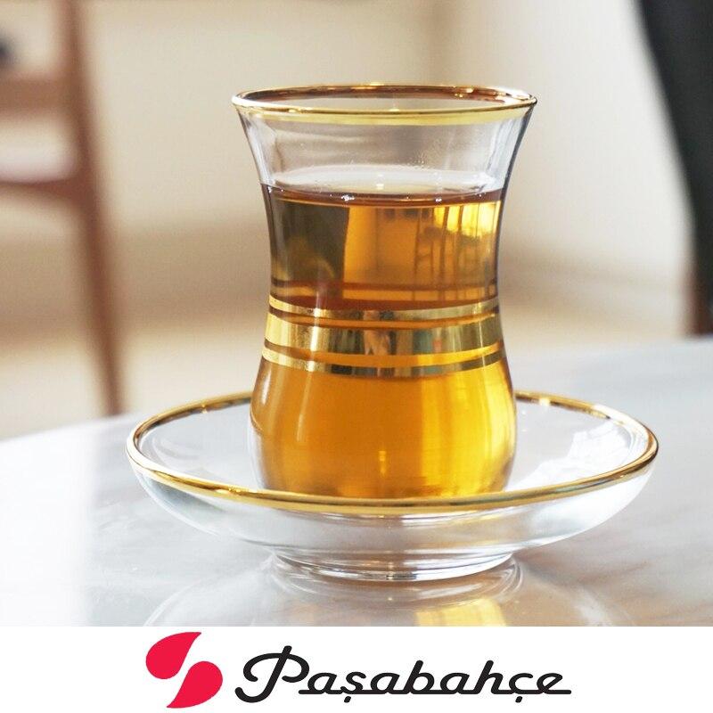 Image 4 - Профессиональная Турецкая черная чайная чашка, блюдце, набор, ручная роспись, Трассировка, Золотое стекло, Bohea, чайная чашка, специальная кофейная эспрессо, кружка Tazas XicaraЧашки и соусницы   -