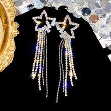 New Hot Fashion Jewelry Geometry Asymmetry Earrings Womens Long Tassel Heart Metal Earring Gifts