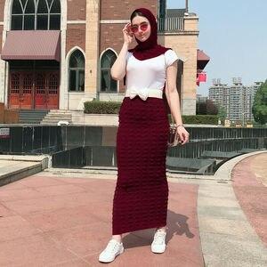 Image 5 - 이슬람 여성 긴 bodycon 연필 스커트 이슬람 스트레치 패션 봄 저녁 칵테일 파티 캐주얼 숙녀 맥시 스커트 뜨개질