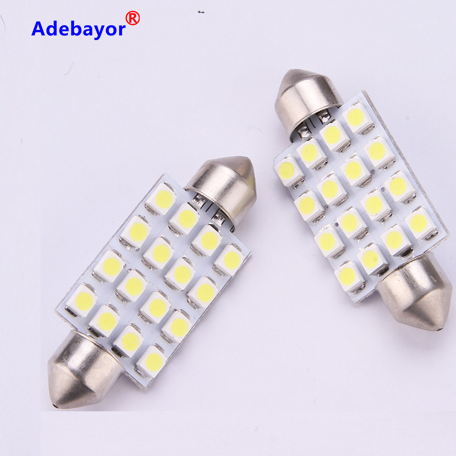 2x 42MM C5W 3528 16 SMD LED Interior Festoon Dome Bulb Reading Lights Warm White