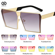 Oversized Square Rimless Sunglasses Women Men Mirror Flat top Big Glasses For Female