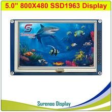 """5.0 """"5"""" Pollici 800*480 SSD1963 Tft Resistivo Touch Modulo Lcd Pannello Dello Schermo di Visualizzazione con Adattatore Pcb per STM32/51/Avr"""