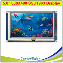 """5.0"""" 5"""" inch 800*480 SSD1963 TFT Resistive Touch LCD Module Display Screen Panel with PCB Adapter for STM32/51/AVR"""