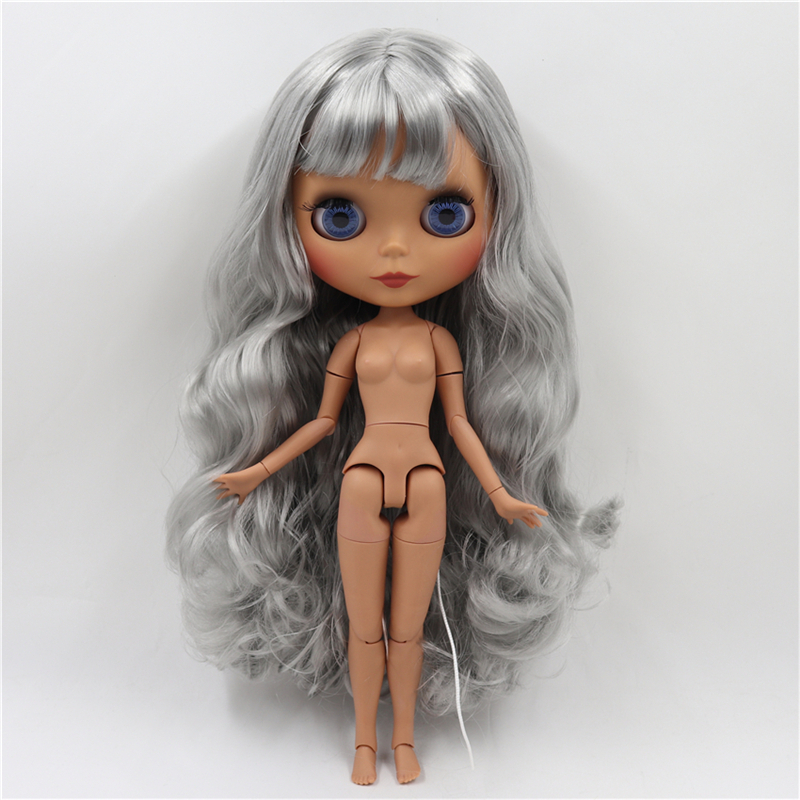 Neo Blythe Doll with Grey Hair, Dark Skin, Matte Face & Jointed Body 1