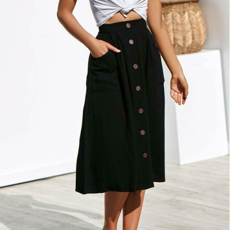 Women Button Solid Elastic High Waist Beach Midi Skirts Pockets Easy Matching