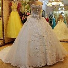 YIWUMENSA 럭셔리 크리스탈 파란색 된 공주 신부 공 가운 웨딩 드레스 레이스 업 다시 아가씨 민소매 로브 드 Mariee 2021