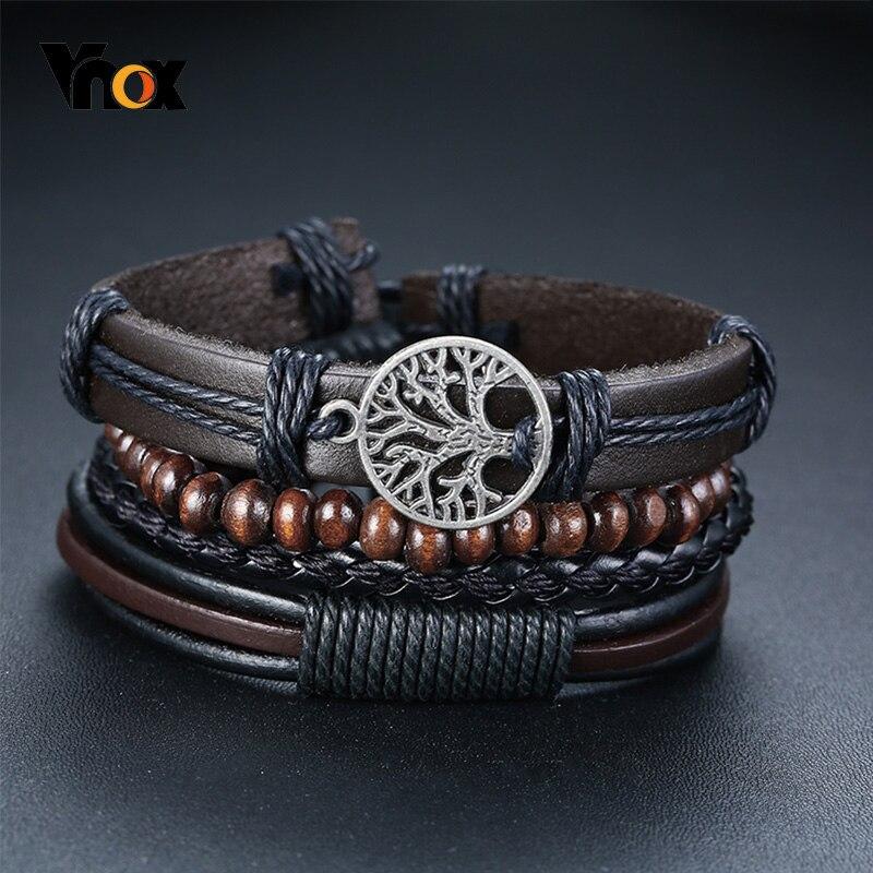Vnox 4Pcs/ Set Braided Wrap Leather Bracelets for Men Vintage Life Tree Rudder Charm Wood Beads Ethnic Tribal Wristbands|Wrap Bracelets|   - AliExpress