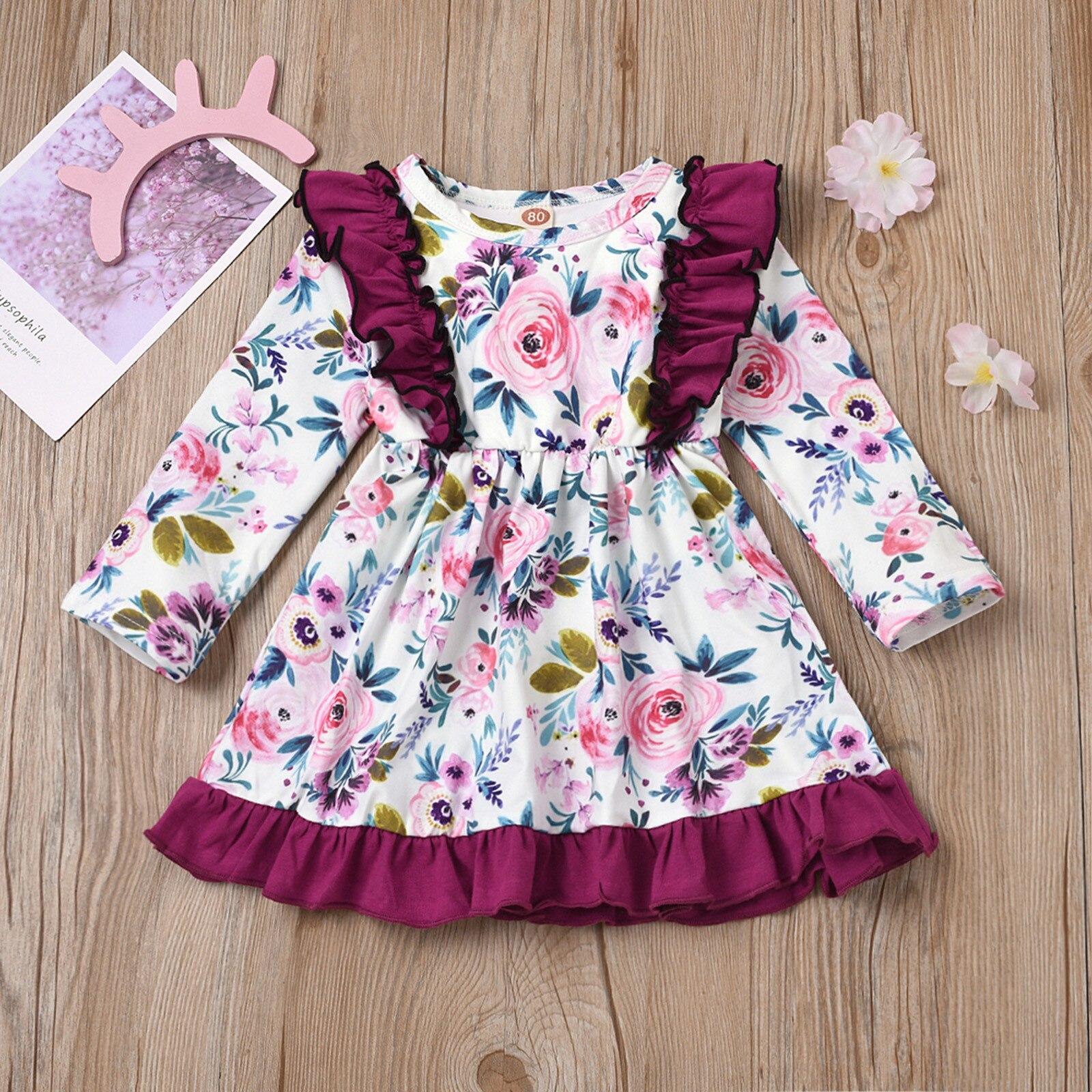 Robe de princesse à volants et fleurs pour bébés filles, vêtements d'hiver à manches volantées, 2021