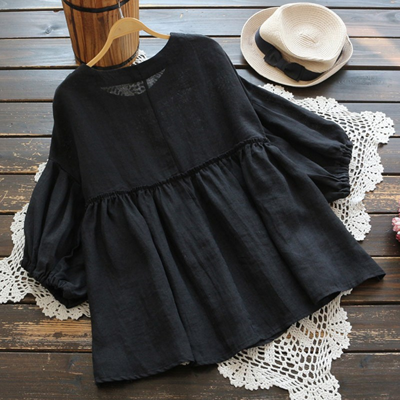 Nice Simple 3/5 Lantern Sleeve Summer Blouse Three Quarter O Neck Solid Cotton Linen Shirts Pleated Tunic Casual Tops