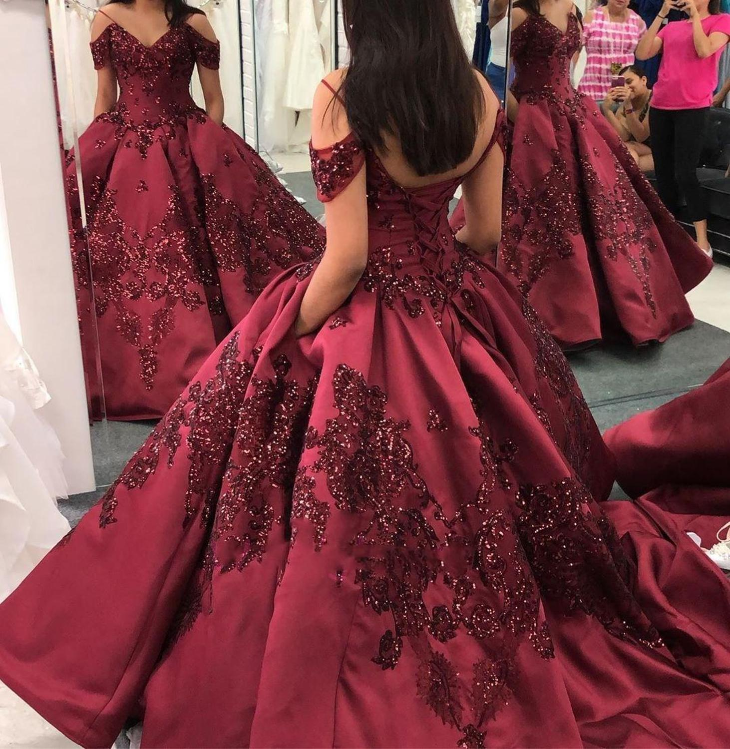 Princess Burgundy ball gown Quinceanera Dresses With Off Shoulder Sequin Lace Appliqued Sweet 16 Girls Paganet Gown 2020