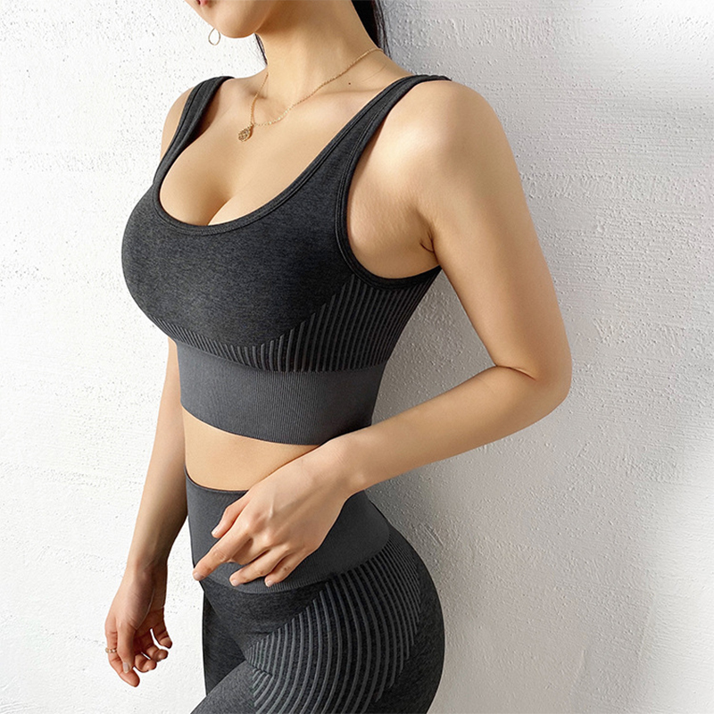 Wmuncc Seamless Sports Bra Fitness Crop Top Backless Tank Women Breathable Quick-dry Stretch Yoga Vest With Pad High Impact