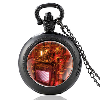 Classic Antique Black Color Steampunk Home Glass Dome Pocket Watch Charm Men Women Punk Pendant Jewelry Gift classic antique black steampunk gear glass dome punk style quartz pocket watch charm men necklace pendant jewelry birthday gifts