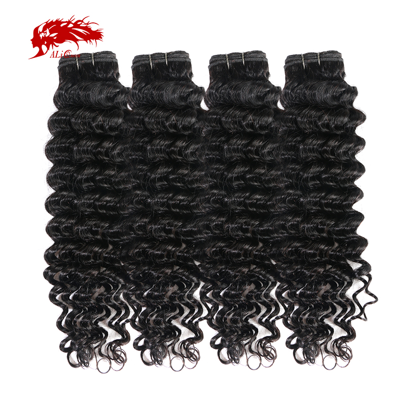 Ali Queen Hair Deep Wave Peruvian Hair Weaves Bundles 4Pcs Lot Non-Remy Hair Weaving Human Hair Extension 12