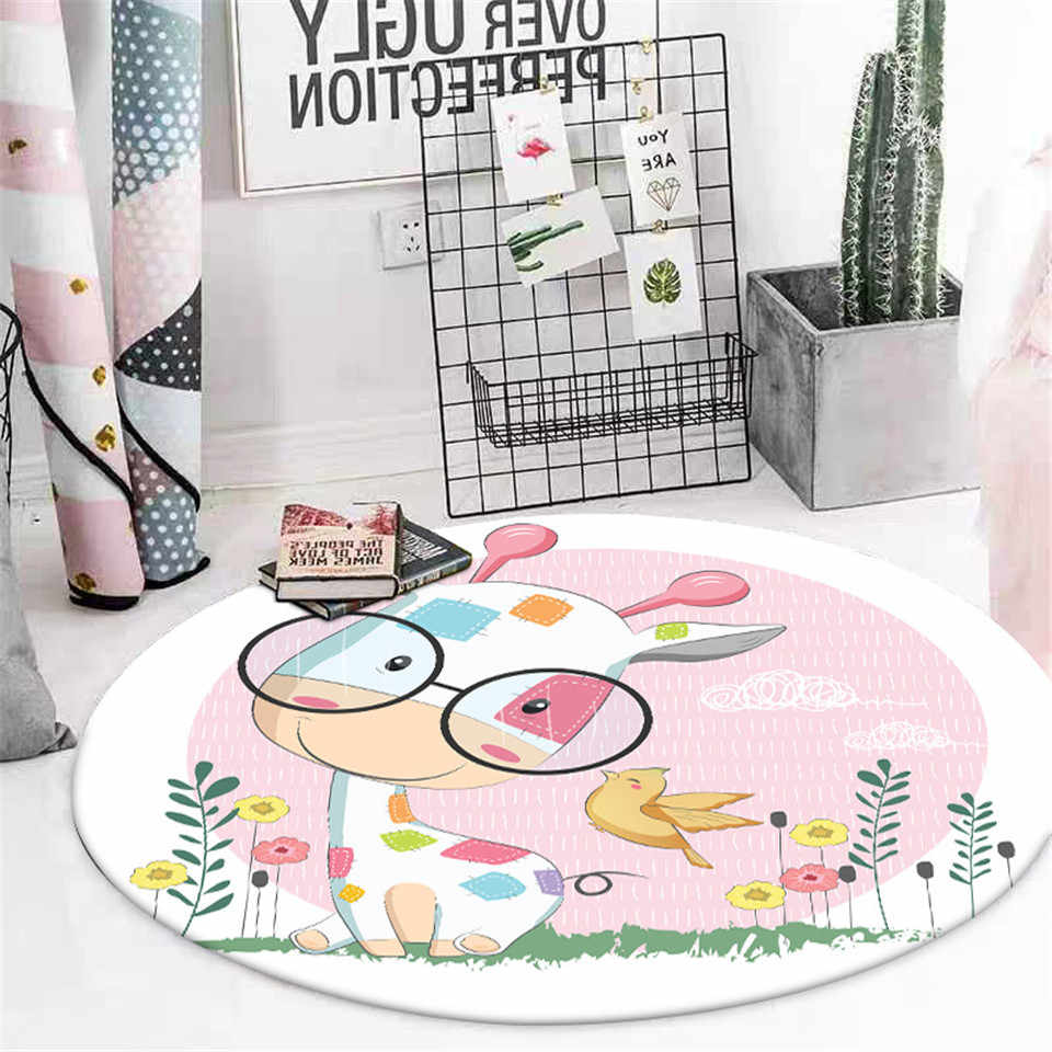Cartoon Giraffe Round Carpet Kids Room Nordic Style Cute Little