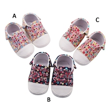 Lace-Up Canvas Riband 3 colors Baby Girls Breathable Floral Print Anti