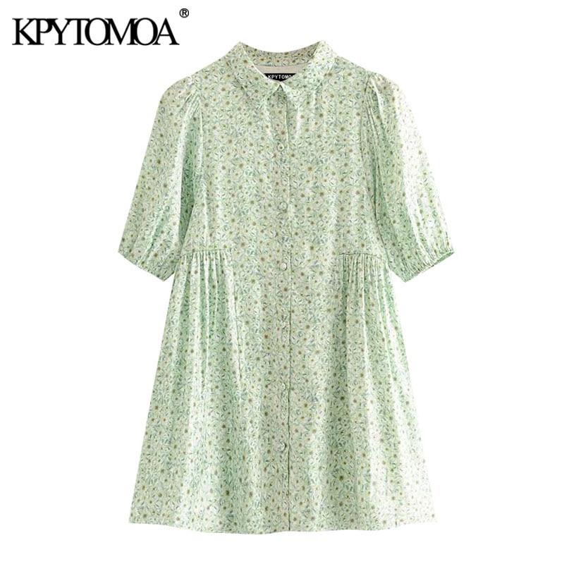 KPYTOMOA Women 2020 Chic Fashion Floral Print Mini Shirt Dress Vintage Puff Sleeves With Lining Female Dresses Vestidos Mujer
