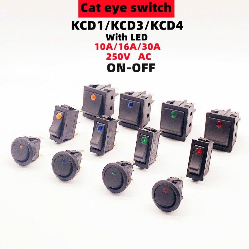 1 pces 3/4pin rocker button switch kcd1/3/4 on-off 2 posição mini olho de gato com led ac 6/10/16/30a 250v pés de cobre/prata contatos