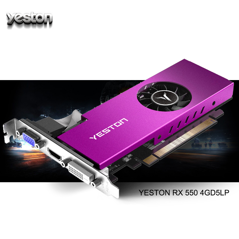 Yeston Radeon mini RX 550 GPU 4GB GDDR5 128bit Gaming Desktop computer PC Video Graphics Cards support VGA/DVI-D/HDMI PCI-E 3.0 image