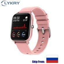 Lykry 2020 relógio smartwatch p8 unissex, relógio inteligente, 1.4 polegadas, tela touch, monitoramento de atividades esportivas, a prova d água ip67 pulseira esportiva