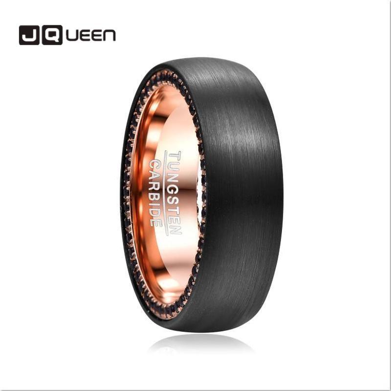 Zircon noir côté incrusté tungstène acier carbure Bague hommes Bague intérieure or Rose Bague Homme Surface brossé anneau pour Homme