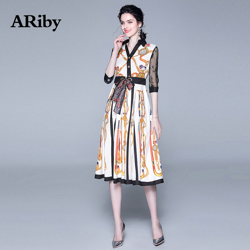 ARiby Women Print Lace Stitching Dress 2019 Early Autumn New Office Lady French Retro Half sleeve V-Neck A-Line