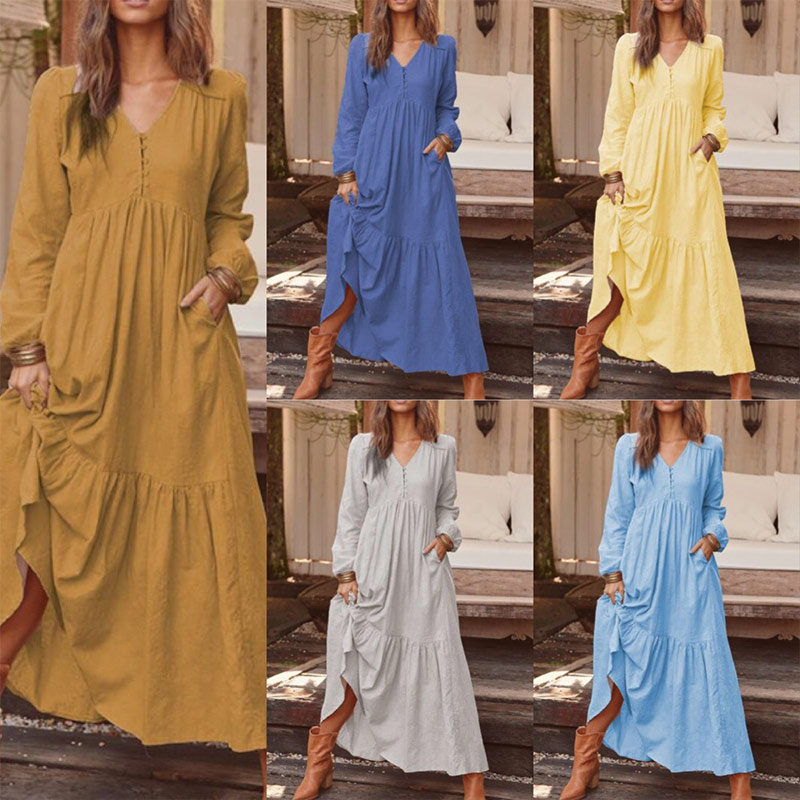 Cotton Linen Boho Puff Sleeves Women Maxi Dress Vestidos V-neck Casual Female Long Dresses 2019 Autumn Fashion Ladies Clothing