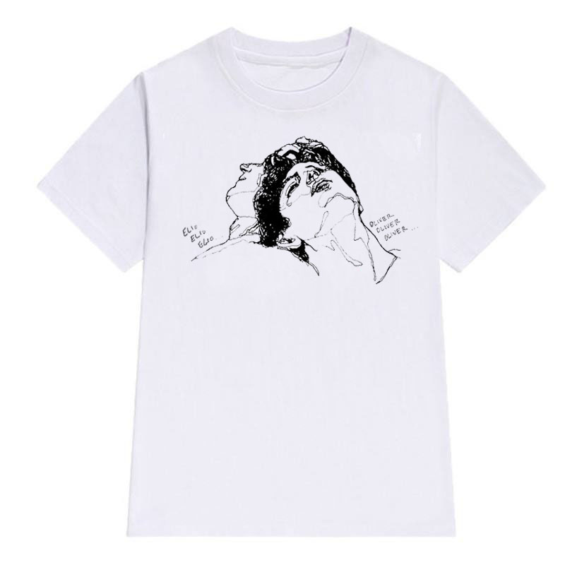 Summer Short Sleeve Tops Call Me By Your Name Movie Cartoon Print T-shirt Men Cotton Tshirts Men T Shirt O-Neck White T Shirt
