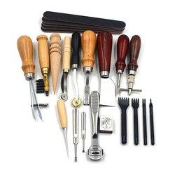 18 sztuk skórzane narzędzia rzemieślnicze zestaw szwy szycia Carving dzieła cios siodło akcesoria skórzane dla DIY Hand pracy ze skórą w Zestawy narzędzi ręcznych od Narzędzia na