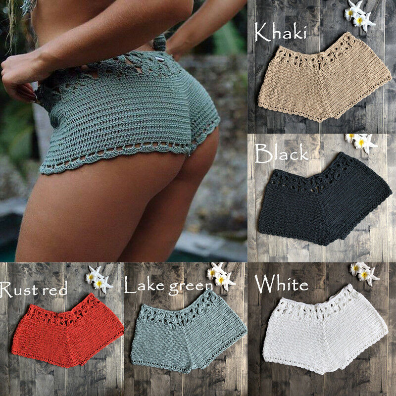 Women Crochet Swim Shorts Knit Hollow Out Bottoms Bikini Cover Up Shorts Beach Fishnet Hot Pants Summer Swimsuit Swimwear