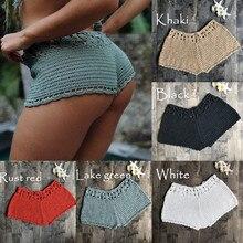 Women Crochet Swim Shorts Knit Hollow Out Bottoms Bikini Cover Up Shorts Beach Fishnet Hot Pants Summer Swimsuit Swimwear fishnet legging shorts