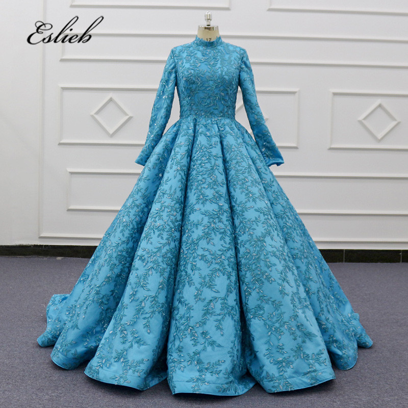 Eslieb Custom Made Blue Muslim Wedding Dresses Long Sleeves High Neck Wedding Dress 2020 Ball Gown Wedding Gowns Bride Dresses