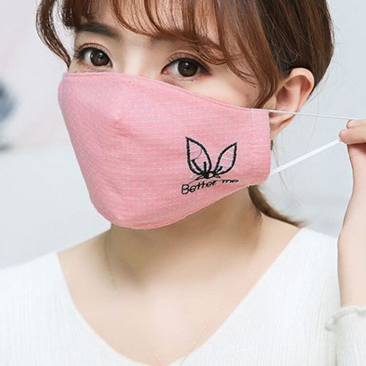H919c3842e0c04ef88ee9d4e935b22d92W Kawaii Maska Women Cotton Print Facemask Outdoor Riding Quick-drying Dustproof Keep Warm Mask