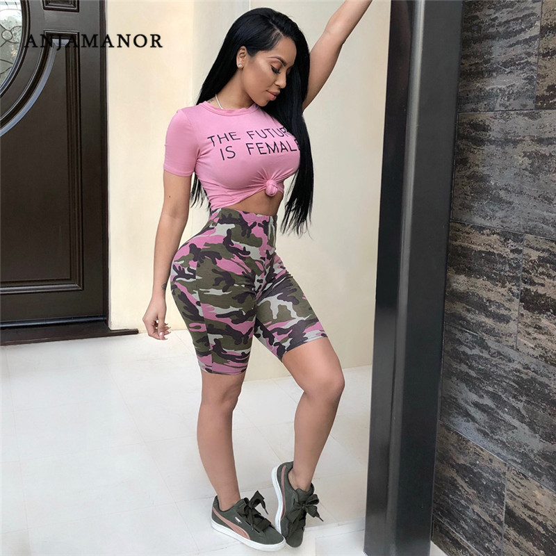 Camouflage Pink Two Piece Set Summer Outfits T Shirt Crop Top And Camo Shorts Set Sexy Tracksuit Matching Sets D41-AB95